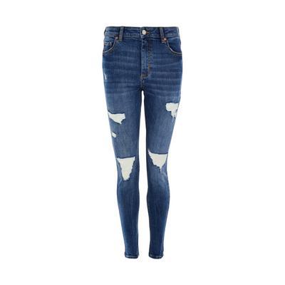Deep Blue Denim Extreme Ripped Skinny Jeans
