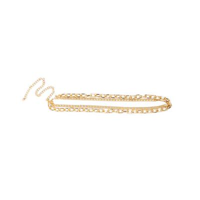 Goldtone Contrast Chain Belt