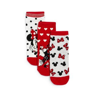 Rdeče vzorčaste nogavice Disney Mini Miška, 3 pari