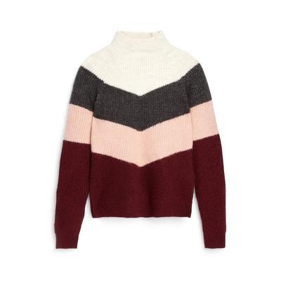Older Girl Colour Block Knitted Chevron Jumper