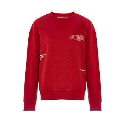 Red Positive Print Sweatshirt