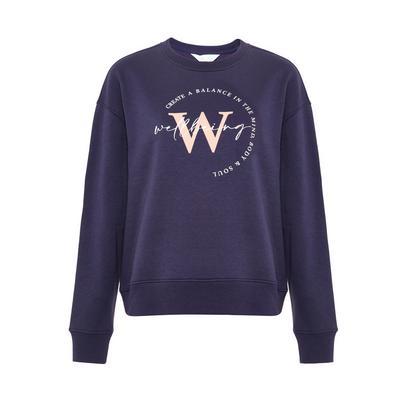 Purple Wellbeing Print Sweatshirt