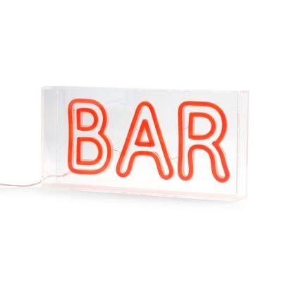 Luz de neón roja con texto «Bar»