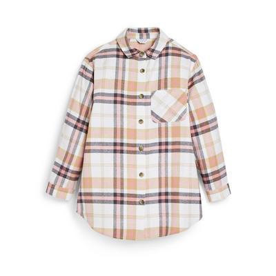 Older Girl Beige Check Shirt