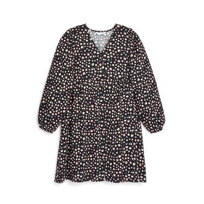 Older Girl Black Floral Print V-Neck Dress