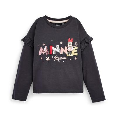 Younger Girl Charcoal Disney Minnie Mouse Logo Longsleeve T-Shirt