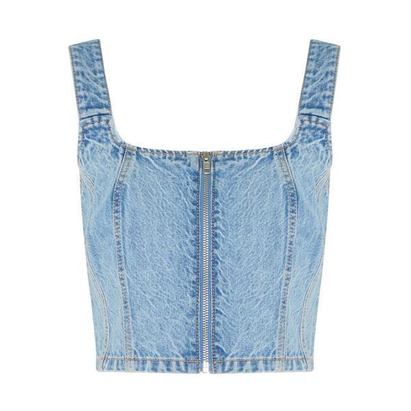 Haut court bleu zippé en jean Primark Cares