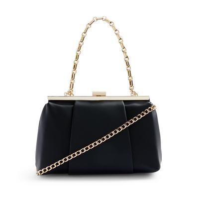 Black Pleated Hardbox Bag