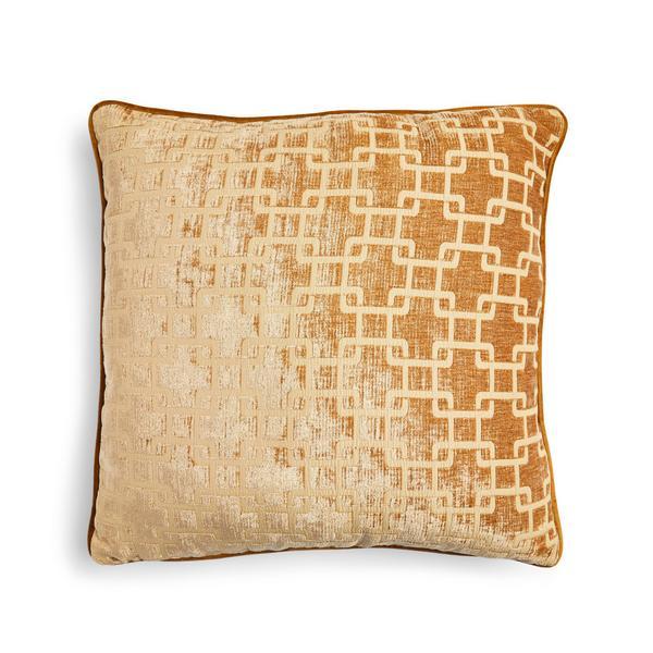Gold Woven Jacquard Geometric Cushion