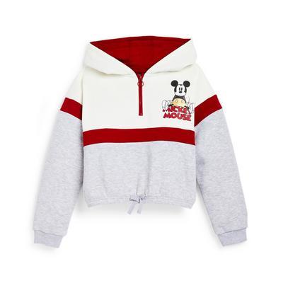 Older Girl Grey Colour Block Disney Mickey Mouse Half Zip Hoodie