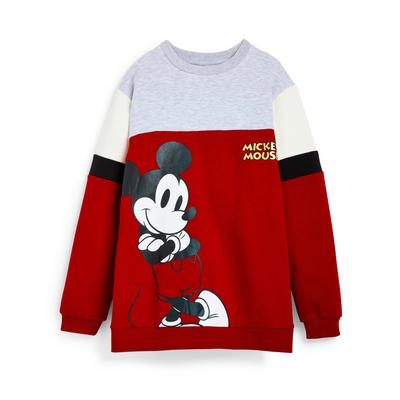 Older Girl Red Colour Block Disney Mickey Mouse Longline Sweater