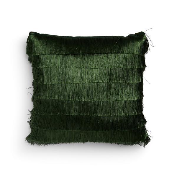 Coussin vert à franges