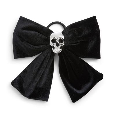 Elástico cabelo laço esqueleto Halloween preto