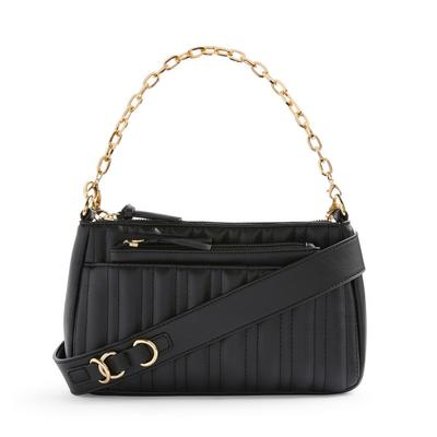 Black Faux PU Leather Linear Quilted 2-In-1 Bag