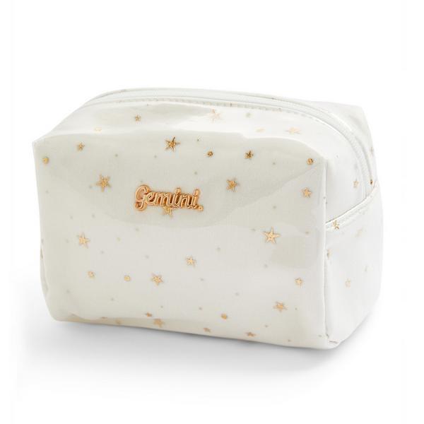 """Weiße """"Gemini"""" Make-up-Tasche mit Plexiglas"""