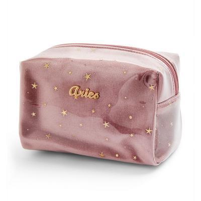 Pink Aries Horoscope Perspex Make Up Bag