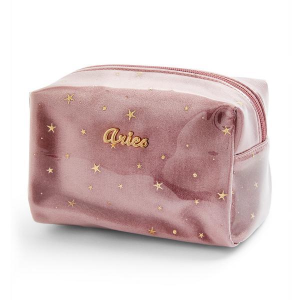 Trousse de maquillage rose en plexiglas à motif horoscope Aries