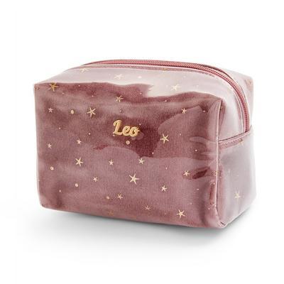 Pink Leo Horoscope Perspex Make Up Bag
