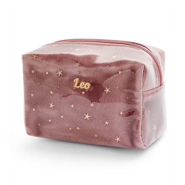 Trousse de maquillage rose en plexiglas à motif horoscope Leo