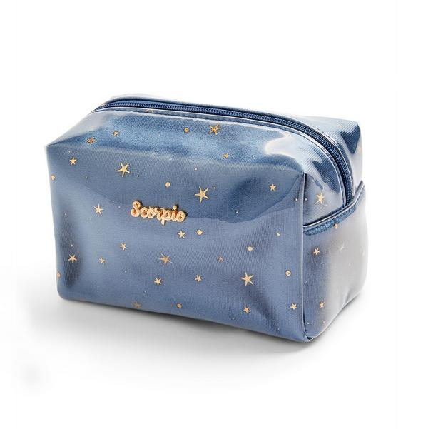 Trousse de maquillage bleu marine en plexiglas à motif horoscope Scorpio