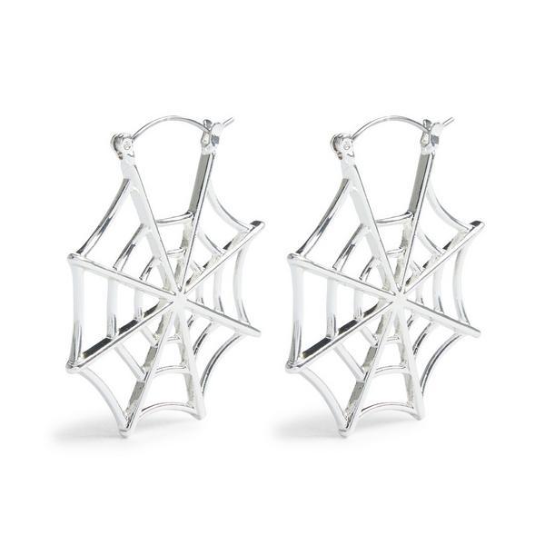 Silberfarbene Halloween-Kreolen mit Spinnennetz-Design