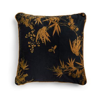 Black Leaf Print Velvet Gold Rope Trim Cushion