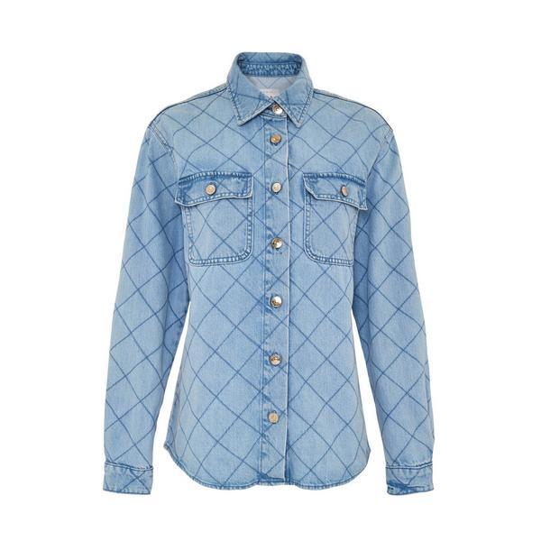 Veste-chemise bleue matelassée en jean