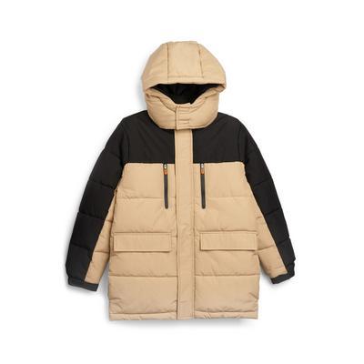 Older Boy Beige Colour Block Longline Puffer Jacket