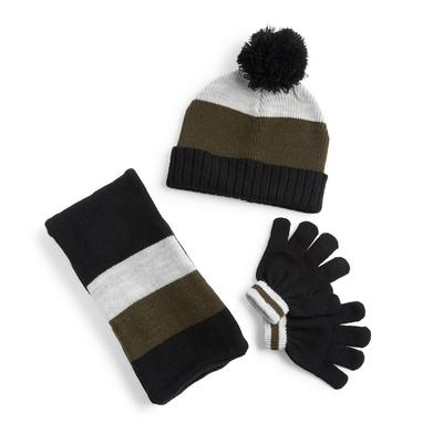 Olive Colorblock Hat Scarf And Gloves Set