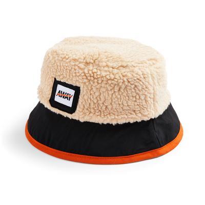 Beige Borg Colour Block Bucket Hat