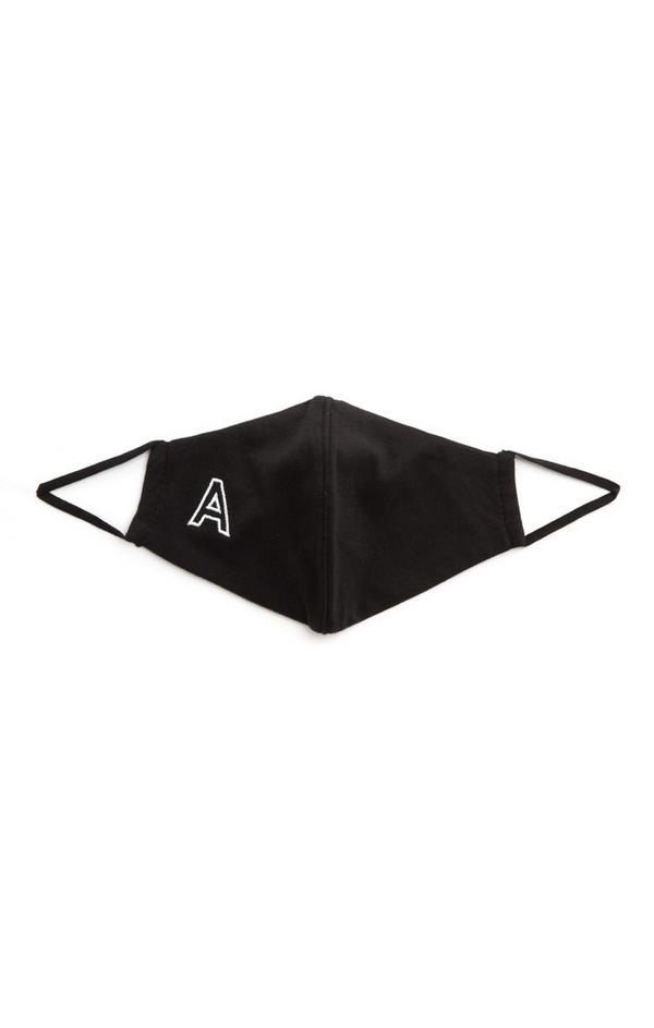 Black A Initial Face Mask