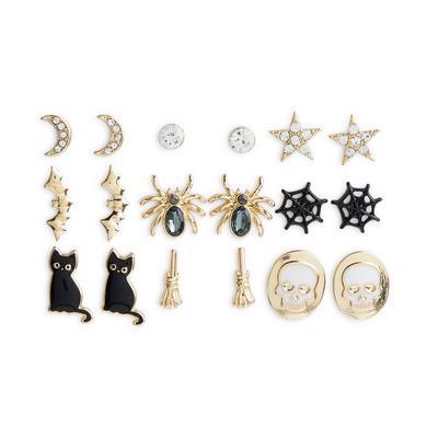 9-Pack Goldtone Halloween Stud Earrings
