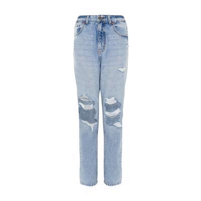 Blue Denim Longer Ripped Straight Leg Jeans