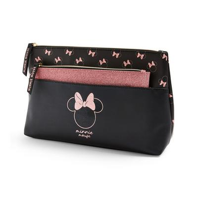 Disney Minnie Mouse Black Glitter 2-In-1 Washbag