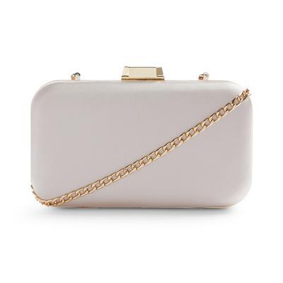 Silver Satin Hardbox Clutch Bag