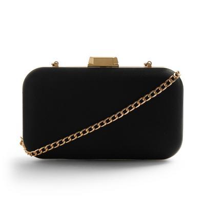 Black Satin Hardbox Clutch Bag