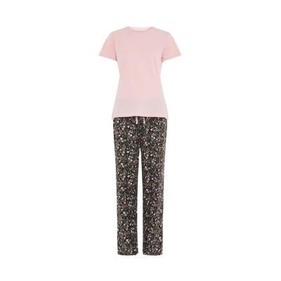 Roza pižama s kratkimi rokavi s cvetličnim potiskom