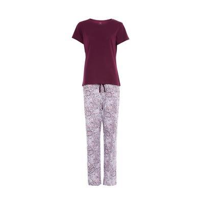 Burgundy Print Short Sleeve Pajamas Set