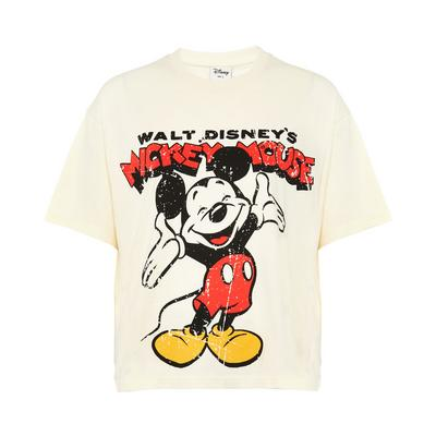 Ivory Disney Mickey Mouse Distressed Print T-Shirt