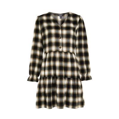 Monochrome Check Tiered Mini Dress