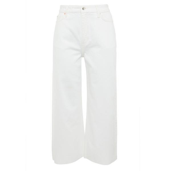 Bele krajše kavbojke s širokimi hlačnicami