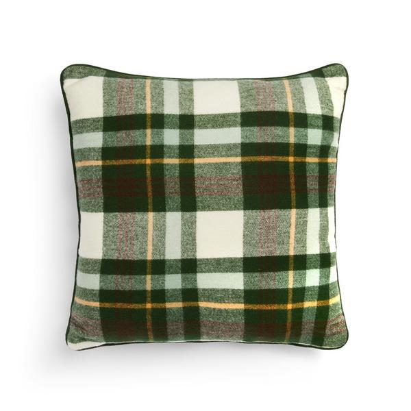 Green Brushed Check Cushion