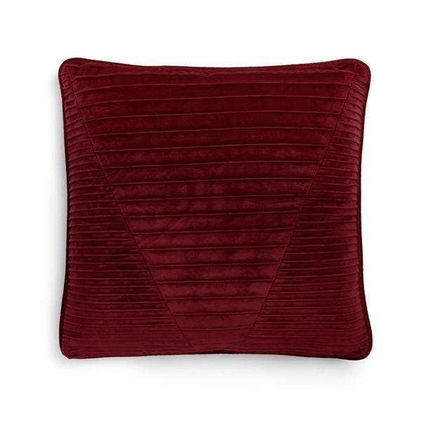 Red Pleated Velvet Cushion Cover