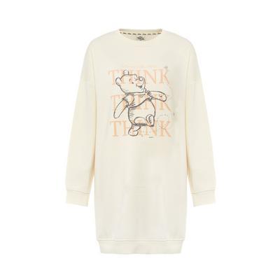 Ivory Winnie The Pooh Slogan Sweatshirt Dress