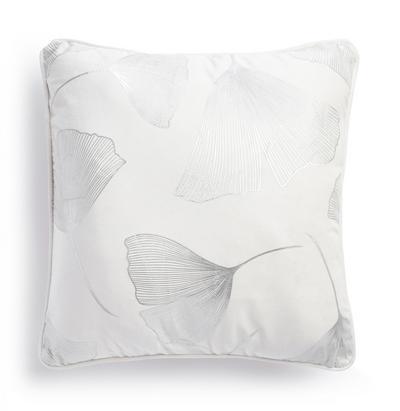 Capa almofada padrão floral efeito alumínio branco