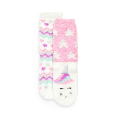 2-Pack Girl's Pink Unicorn Cozy Socks