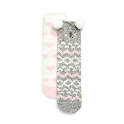 2-Pack Girl's Pink Koala Cozy Socks