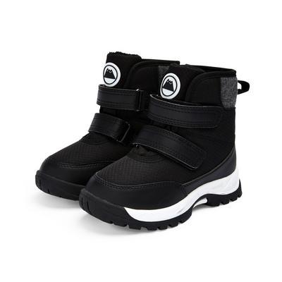 Črni škornji za uporabo na prostem za mlajše fante