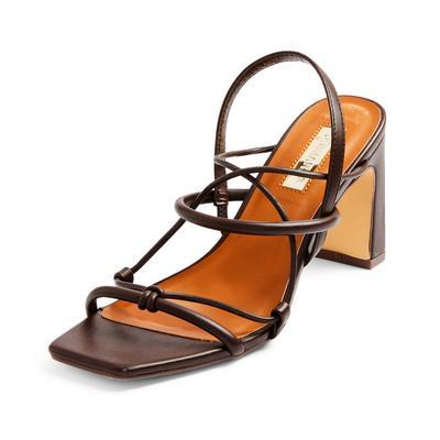 Brown Strappy Block Heel Sandals