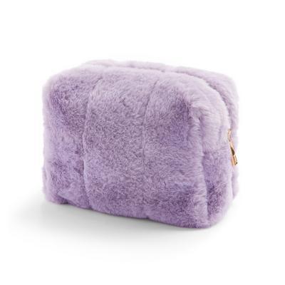 Lilac Faux Fur Make Up Bag